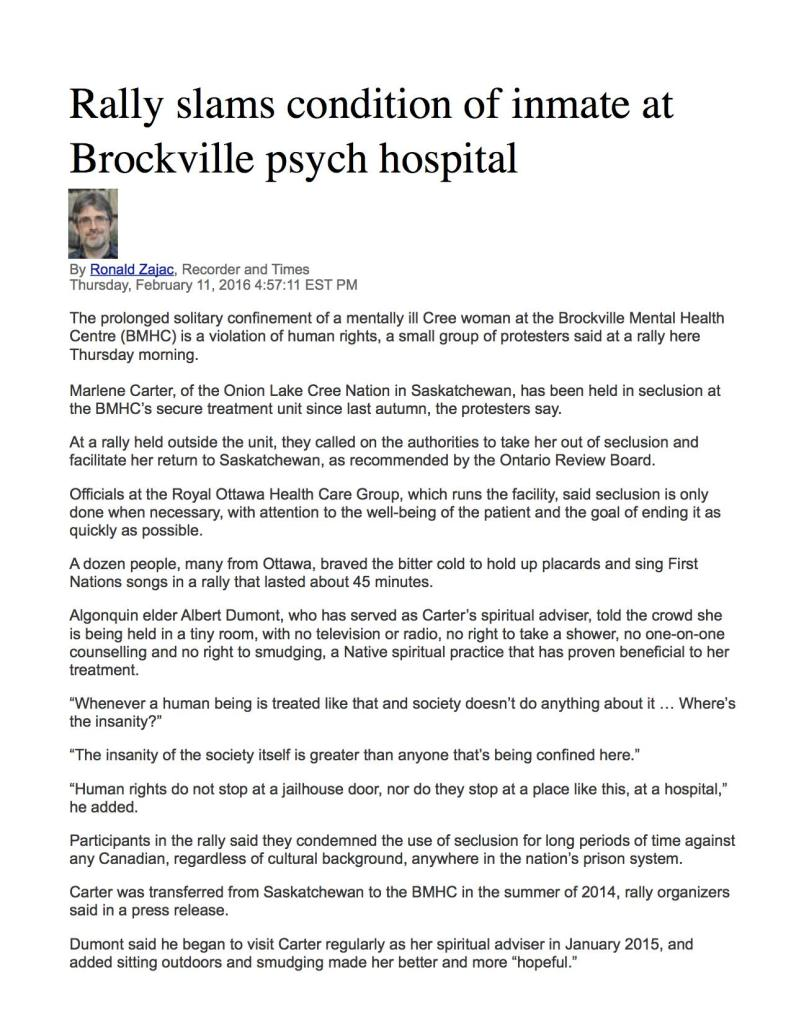Article on Rally in Brockville Recorder and TImes