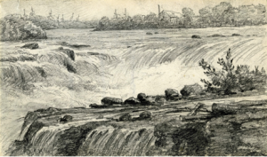 This is an illustration of Chaudière Falls before it was dammed in the 1800's.