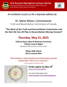 Aboriginal Lecture Series Invitation May 21 2015