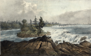 Painting of Asinabka, wild and free, before the dam.